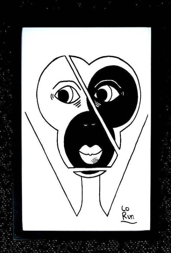 allok abstract face drawing blackwhite print wall etsy