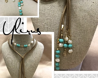 Choker in prismatic and swarovskis and pearls, use it as a necklace or bracelet.