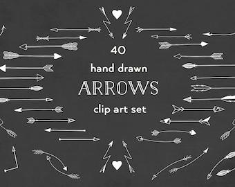Arrows clip art, hand drawn tribal arrows, arrow clipart, hand drawn arrows, chalkboard, white, chalk, doodle