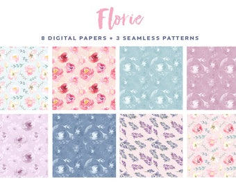 Watercolor floral digital papers, flower backgrounds, seamless flower patterns