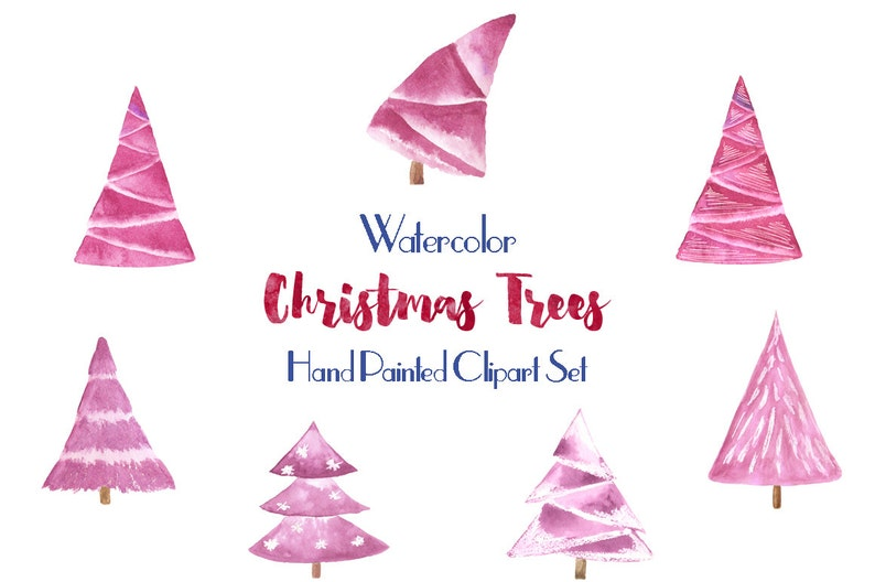 Watercolor Clipart Christmas Tree Pink Christmas Tree Clip Art Set Merry Christmas Illustrations