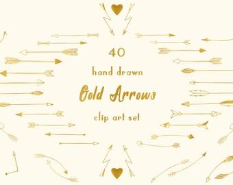 Gold arrows clip art, hand drawn tribal arrows, arrow clipart, hand drawn arrows, gold texture, doodle