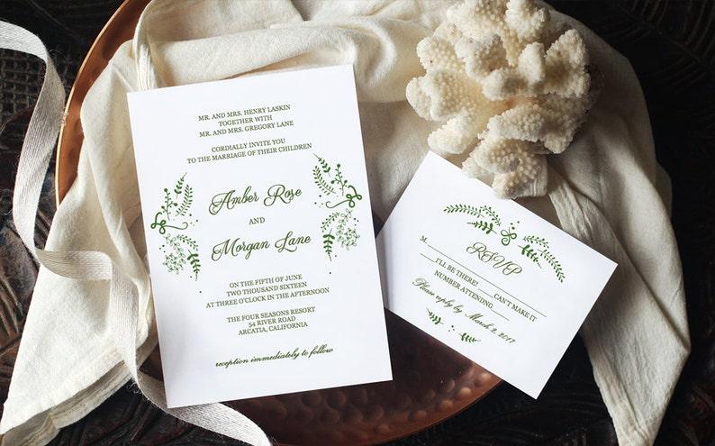 Wedding Invite Template INSTANT DOWNLOAD Wedding Invite Printable Wedding Invitation Design Fly Wedding Invitation Template
