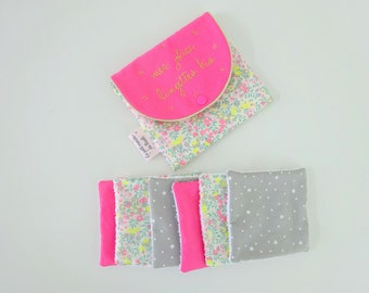 Organic washable wipes and wipes Liberty wiltshire gray pink macaroon pouch