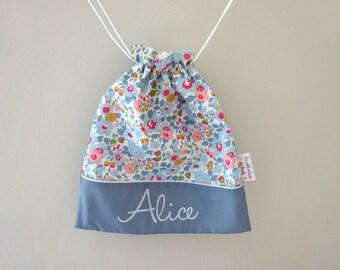 Drawsting bag boy personalized kindergarten back to school betsy porcelain Liberty