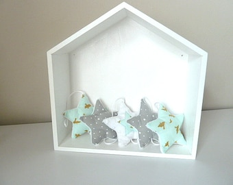 Garland of stars in grey blue mint gold