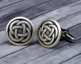 Gift Boxed. handmade in England from Fine English Pewter Celtic Triquetra Knot Cufflinks
