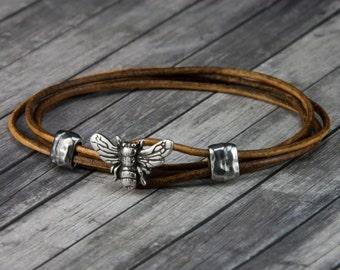 Bee Leather Bracelet - Leather Wrap Bracelet - Womens Leather Bracelet - Mens Leather Bracelet - Bee Jewelry - Leather Bracelet - Honey Bee