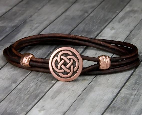 Celtic Leather Wrap Bracelet Copper Celtic Knot Green Leather Bracelet Womens Leather Bracelet Mens Leather Bracelet Christmas