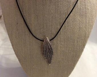 Fine silver leaf pendant