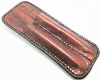 Double leather belt holster for pen - Smooth