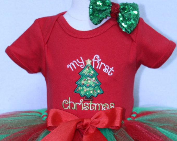 Featured listing image: 1st Christmas outfit, baby girl first Christmas outfit, baby girl clothes, personalized Christmas bodysuit, red, green baby Christmas tutu