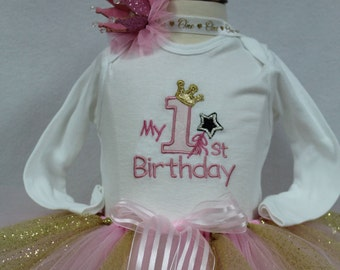 First birthday, 1st birthday girl, Princess, Pink, Gold, birthday,  birthday crown, girls1st birthday, bodysuit, tutu, personalized, custom