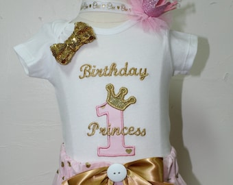 1st birthday outfit, first birthday, 1st birthday, babys first birthday, baby girl, handmade,  personalized, pink, birthday crown, princess
