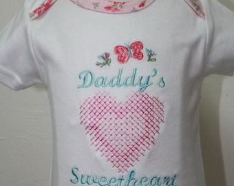 Baby girl pink floral bodysuit, Daddy's Girl bodysuit, Pink heart embroidery, Peach and Aqua blue snail bodysuit, Appliqued snail onesie