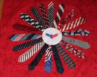 Neck tie quilt, Memory Quilt, quilt from neck ties, sympathy quilt, remembrance quilt, patriotic, recycled clothing, repurposed clothes