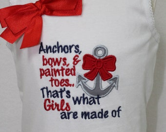 Baby girl clothes, sleeveless bodysuit, tank top, nautical, anchor, baby girl gift, baby shower gift, new baby gift, summer, beach, red