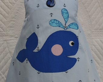 Summer dress, baby girl clothes, baby dress, handmade, baby shower gift, baby girl gift, blue, sundress, beach, nautical, whale, anchor
