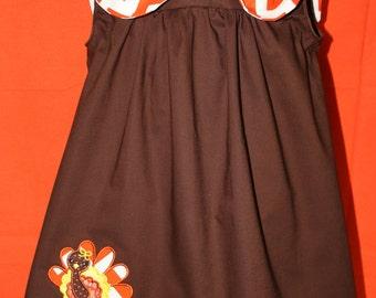 Thanksgiving, Thanksgiving dress, girl clothes, girls clothes, jumper, sleeveless dress, brown, orange, fall dress, back to school