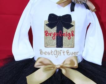 Baby Girl, first Christmas, baby girl clothes, baby tutu, black, Christmas, personalized, Christmas shirt, Christmas bodysuit, handmade
