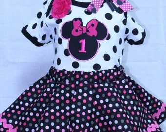 Minnie Mouse, girl 1st birthday, girl first birthday, Disney, birthday outfit, black, pink, baby girl clothes, bodysuit, birthday, baby girl