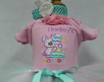 First Easter, 1st Easter, Easter, Easter headband, Easter Bunny, Easter dress, pink, bodysuit, personalized, baby tutu, aqua, custom