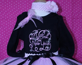 baby girl 1st New Year outfit,  My first New Year, baby tutu, black, pink, baby girl clothes, New Years eve baby shirt, pink  baby headband