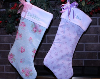 Christmas stocking, Christmas decor, Christmas, shabby chic, pink, lavender, floral, gift for her, gift for mom, ornaments, accents