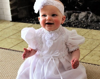Baptism, baptismal gown, baby girl baptism, baptism dress, christening, dedication, blessing, baby dress, baby girl clothes, white,headband