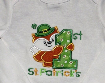 Boys 1st St. Patrick's Day, girls 1st St. Patrick's Day, First St. Patrick's Day, baby girl clothes, baby boy clothes, bodysuit, green, fox