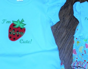American girl doll, 18 inch doll clothes, doll clothes, birthday gift, strawberry, blue, handmade, personalized, tshirt, t shirt, t-shirt,