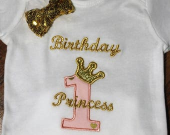 1st birthday, Princess, bodysuit, first birthday, Princess crown, Pink, gold, birthday, crown, birthday crown, clearance sale