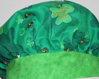 St. Patricks Day scrub cap, Surgical scrub hat, Snoopy scrub cap, Green scrub cap, four leaf clover hat, Nurses scrub cap, Womens scrub hat