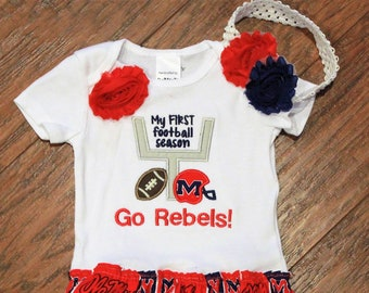 Mississippi, Ole Miss, Mississippi Rebels, Rebels, baby girl clothes, baby shower gift, baby girl gift, bodysuit, football, red, blue