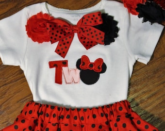 Minnie Mouse inspired birthday, second birthday, 2nd birthday, Mouse shirt, red, black, girl birthday, polka dot, tshirt, t shirt