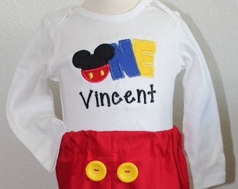 Mickey Mouse inspired personalized 1st birthday, 1st birthday boy, first birthday, baby boy, birthday outfit, red pants, baby boy clothes