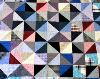 Memory quilts, patchwork quilt, recycled clothing quilt, quilt from dad's shirts, custom memory quilt, throw size, full size, queen, king