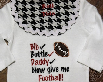 Baby shower gift, new baby gift, baby boy gift, Alabama, football, bodysuit, baby boy clothes, daddy, baby boy