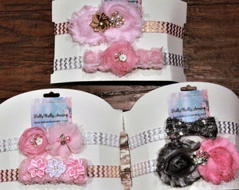 Baby headband, baby gift set, baby headbands, baby shower gift, baby girl gift, pink, silver, gold, headband gift set, baby girl clothes