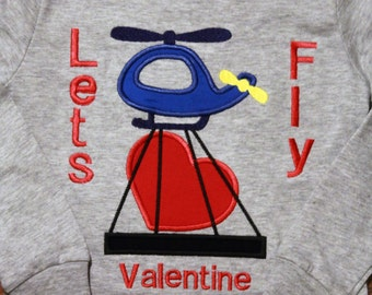 Boy Valentine shirt, Boys Valentine shirt, tshirt, t shirt, t-shirt, Valentine's Day, boy clothes, gray, red, heart, helicopter, long sleeve