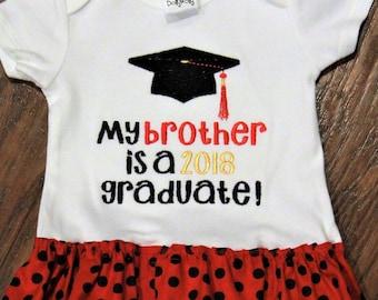 Georgia Bulldogs, graduation, graduation cap, bodysuit, baby girl clothes, baby dress, brother, red, black, Georgia baby clothes, Georgia