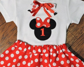 1st birthday outfit, Minnie Mouse, first birthday, Disney, red, white, polka dot, Minnie Mouse shirt,  Minnie Mouse skirt, Clearance