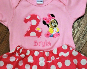Baby Minnie Mouse, 2nd birthday outfit, second birthday outfit, girls 2nd birthday, Minnie Mouse, birthday, Disney, pink, white, polka dot