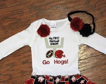 Arkansas, Arkansas Razorbacks, Razorbacks, Hogs, baby girl gift, baby shower gift, baby girl clothes, dress, bodysuit, football, red, black
