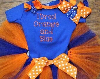 Florida, gators, baby girl clothes, baby girl gift, baby girl, baby shower gift, new baby gift, orange, blue, bodysuit, football, baby tutu