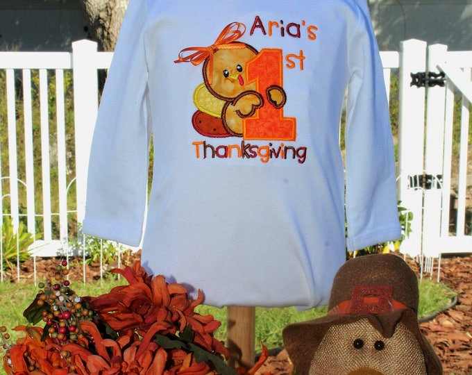 Featured listing image: Thanksgiving, 1st Thanksgiving, first Thanksgiving, bodysuit, personalized, baby girl, baby boy, baby clothes, turkey,