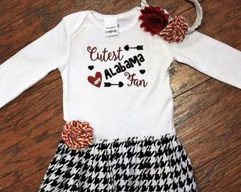 Alabama, Crimson Tide, Roll Tide, baby shower gift, baby girl gift, baby girl clothes, bodysuit, football, crimson, white, cream, baby dress