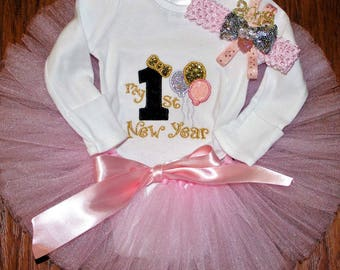 Personalized baby girl 1st New Year outift, personalized embroidered bodysuit, pink, gold baby girl outfit for New Years eve, baby headband