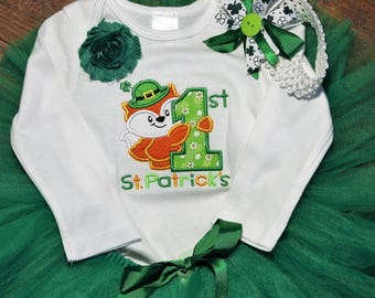 1st St. Patricks Day, first St. Patrick's Day, baby girl clothes,baby girl, bodysuit, baby tutu, green tutu, St. Patricks Day headband, fox