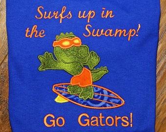 Gator, Florida, boy clothes, t shirt, t-shirt, tshirt, blue, orange, alligator, blue shirt, personalized, custom, handmade